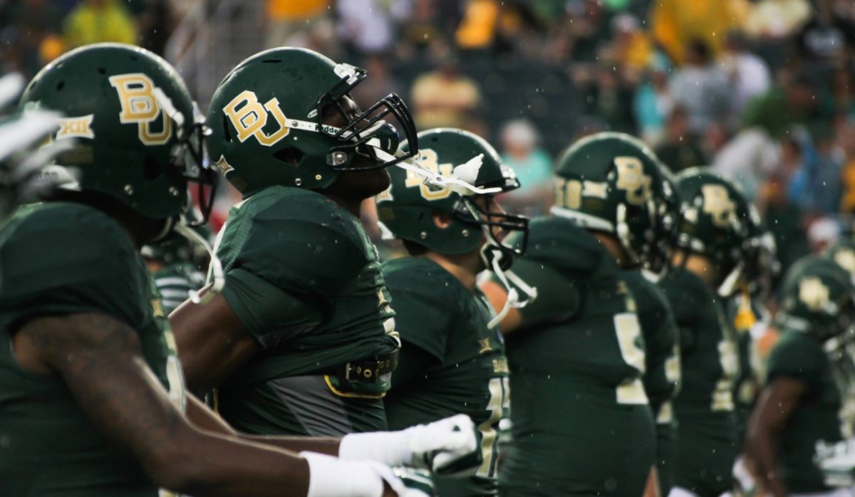 Baylor players warm up before the game against Northwestern State Demons Saturday night in McLane Stadium. The Bears beat the Demons 70-6.