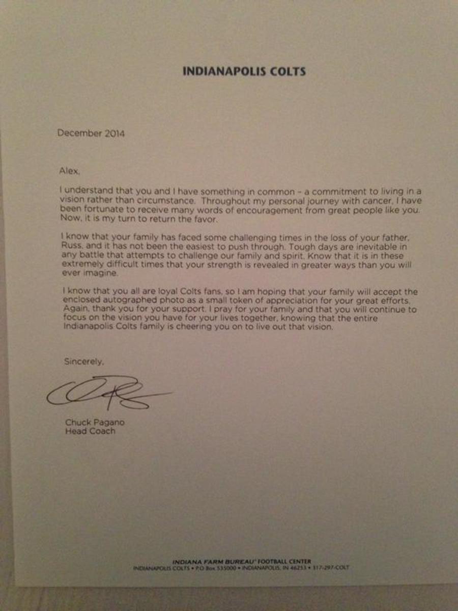 Chuck Pagano letter
