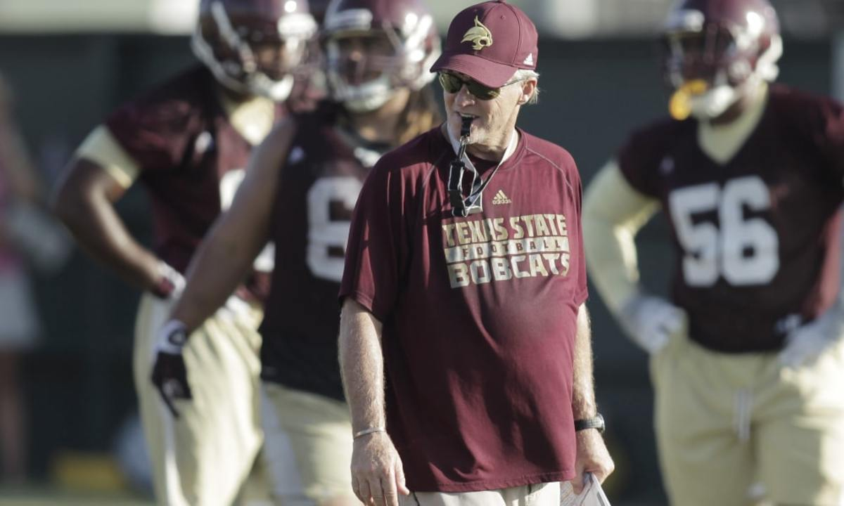 8/8/15 7:32:56 PM -- San Marcos, TX, U.S.A  -- Texas State University Bobcats defensive coordinator John Thompson during fall football practice. --  Photo by Erich Schlegel-USA TODAY Sports Images, Gannett ORG XMIT:  US 133529 Texas State 8/8/2015 [Via MerlinFTP Drop]