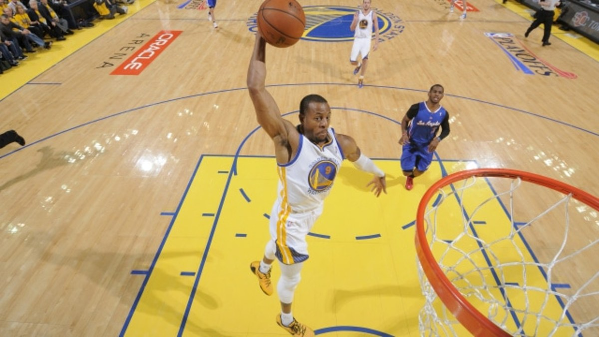 OAKLAND, CA - APRIL 27: Andre Iguodala #9 of the Golden State Warriors dunks against the Los Angeles Clippers in Game Four of the Western Conference Quarterfinals during the 2014 NBA Playoffs at Oracle Arena on April 27, 2014 in Oakland, California. NOTE TO USER: User expressly acknowledges and agrees that, by downloading and/or using this Photograph, user is consenting to the terms and conditions of Getty Images License Agreement. Mandatory Copyright Notice: Copyright 2014 NBAE (Photo by Rocky Widner/NBAE via Getty Images)