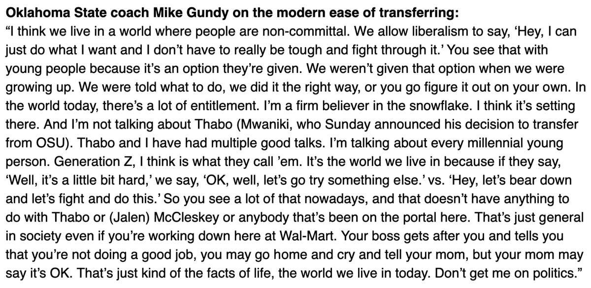 Mike Gundy snowflake