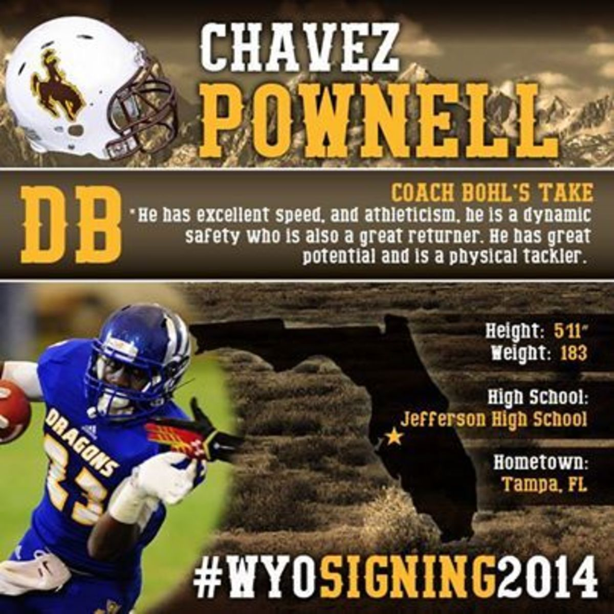 Wyoming Football - 2014 Signing Day Player Card