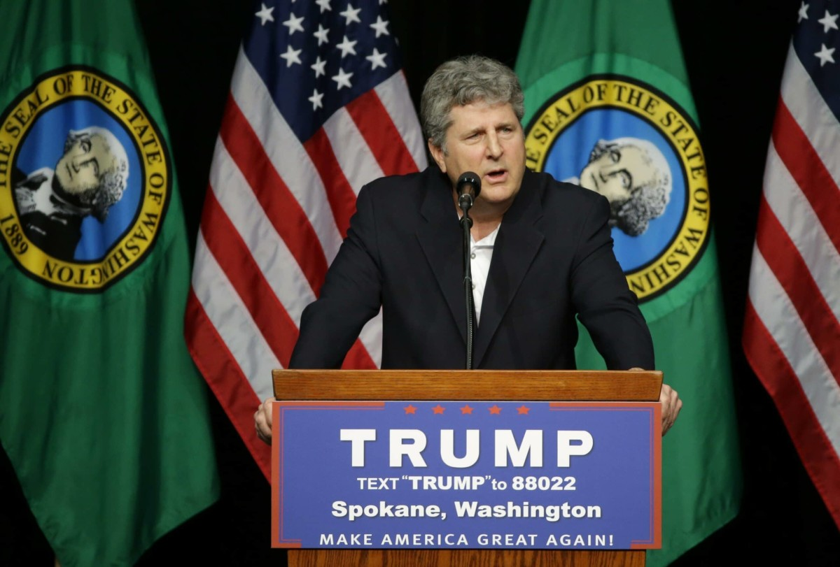 Mike Leach head football coach at Washington State University, speaks in support of Republican presidential candidate Donald Trump during a rally in Spokane, Wash., Saturday, May 7, 2016. (AP Photo/Ted S. Warren) ORG XMIT: WATW122