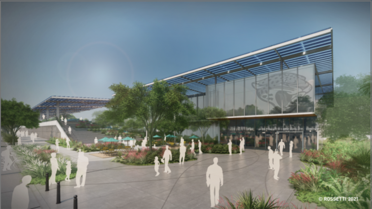 The entrance to the Jaguars' proposed new football facility.
