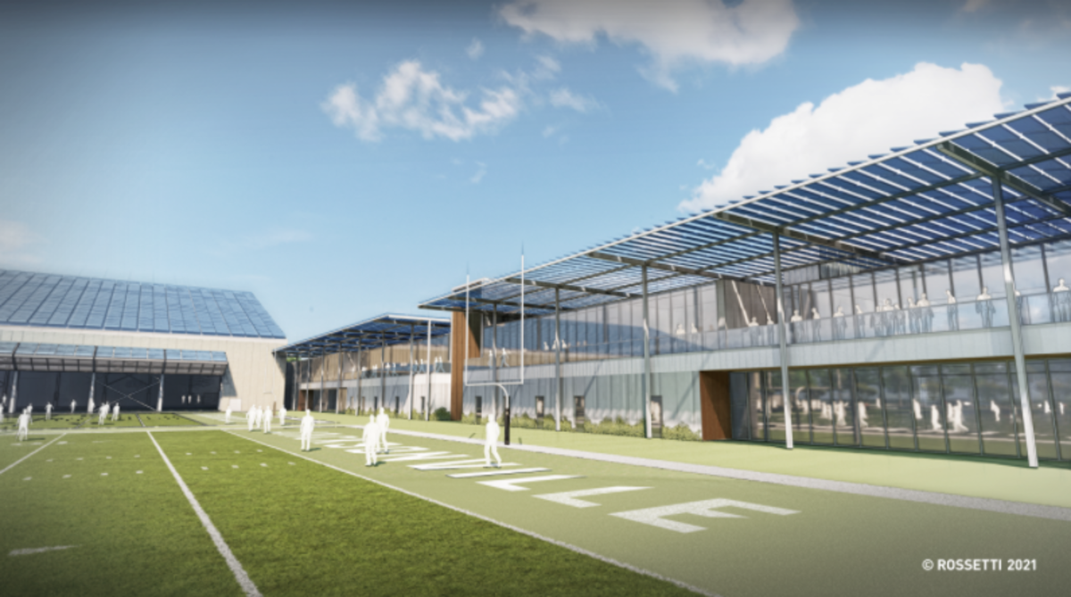 A view from the field of one of the Jaguars' proposed new outdoor practice fields.