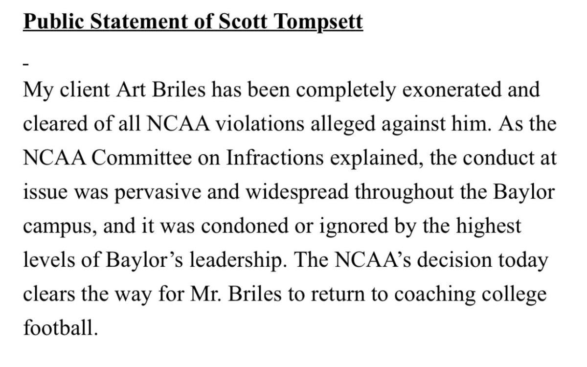 Art Briles statement