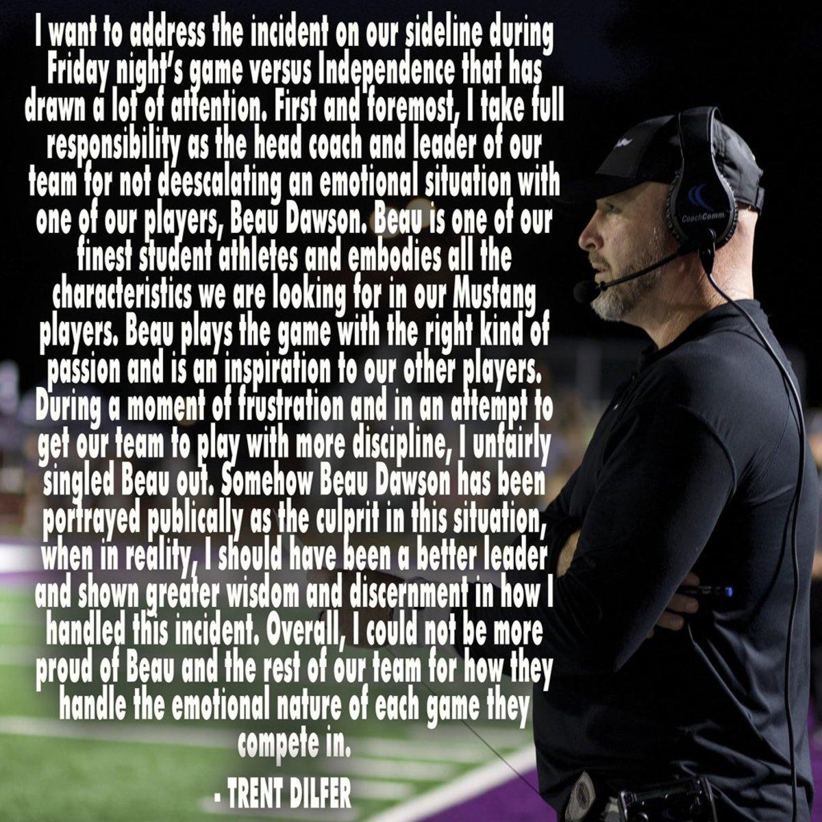 Trent Dilfer Statement